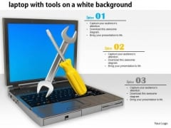 Stock Photo Laptop And Service Tool White Background PowerPoint Slide