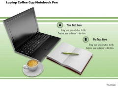 Stock Photo Laptop Coffee Cup Notebook Pen PowerPoint Slide