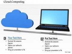 Stock Photo Laptop With Blue Cloud Icon Pwerpoint Slide