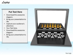 Stock Photo Laptop With Chess Pieces PowerPoint Slide