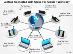 Stock Photo Laptops Connected With Globe For Global Technology Image Graphics For PowerPoint Slide