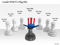 Stock Photo Leader With Us Flag Hat PowerPoint Template