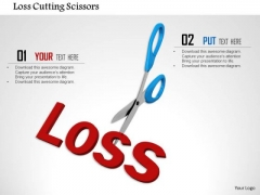 Stock Photo Loss Cutting Scissors PowerPoint Slide
