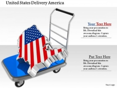 Stock Photo Map Of United States On Trolley PowerPoint Slide
