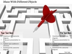 Stock Photo Maze With Dart Arrow PowerPoint Slide