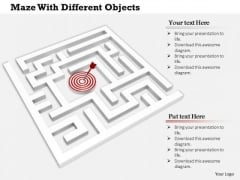 Stock Photo Maze With Target Hit Arrow PowerPoint Slide