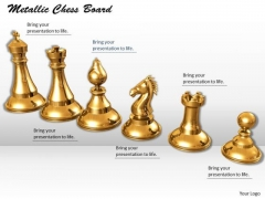 Stock Photo Metallic Chess Board PowerPoint Slide