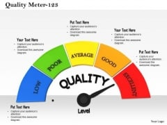 Stock Photo Meter Indicating Maximum Quality Level PowerPoint Slide