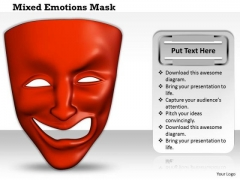 Stock Photo Mixed Emotions Red Color Mask PowerPoint Slide