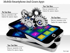 Stock Photo Mobile Smartphone And Gears Apps PowerPoint Slide
