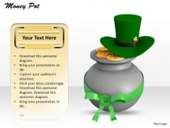 Stock Photo Money Pot And Hat PowerPoint Slide