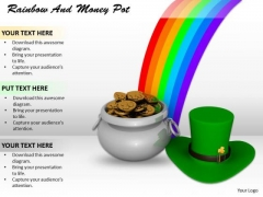 Stock Photo Money Pot With Rainbow And Hat PowerPoint Slide