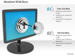 Stock Photo Monitor With Lock And Key Security PowerPoint Slide