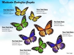 Stock Photo Multicolor Butterflies Graphic PowerPoint Template