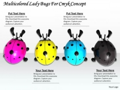 Stock Photo Multicolored Lady Bugs For Cmyk Concept PowerPoint Template