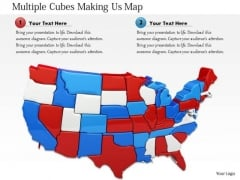 stock photo multiple cubes making usa map powerpoint slide