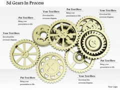 Stock Photo Multiple Silver Gears For Process Control PowerPoint Slide