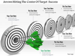 Stock Photo Multiple Targets With Green Arrows Hitting One PowerPoint Slide