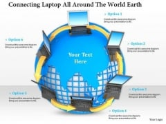 Stock Photo Network Of Laptop On Globe Internet Concept PowerPoint Slide