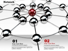 Stock Photo Network Of Silver And Red Spheres PowerPoint Slide