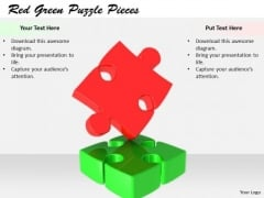 Stock Photo New Business Strategy Red Green Puzzle Pieces Icons