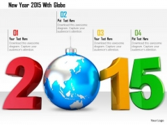 Stock Photo New Year 2015 With Globe PowerPoint Slide