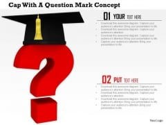 Stock Photo One Academic Cap With Question Mark PowerPoint Slide