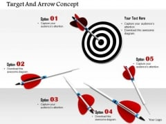 Stock Photo One Red Arrow Hits On Target PowerPoint Slide