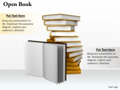 Stock Photo Open Book Pile Of Books PowerPoint Slide