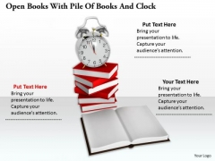 Stock Photo Open Books With Pile Of Books And Clock PowerPoint Slide