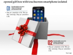 Stock Photo Opened Gift Box With Touchscreen Smartphone PowerPoint Slide
