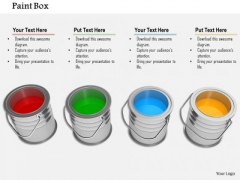 Stock Photo Paint Box In Row PowerPoint Slide