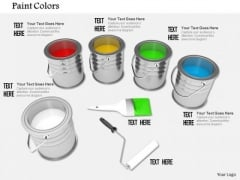Stock Photo Paint Colors Tins Brush Roller PowerPoint Slide