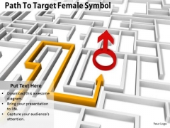 Stock Photo Path To Target Female Symbol PowerPoint Slide