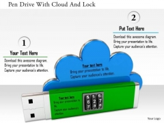Stock Photo Pen Drive With Cloud And Lock PowerPoint Slide