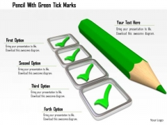 Stock Photo Pencil With Green Tick Marks PowerPoint Slide