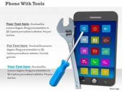 Stock Photo Phone With Tools PowerPoint Slide