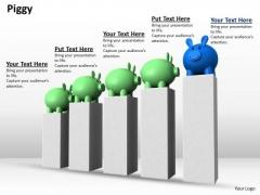 Stock Photo Piggy Banks Of Bar Graph PowerPoint Slide