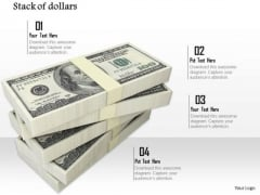 Stock Photo Pile Of Money Dollars Bundles PowerPoint Slide