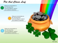 Stock Photo Pot And Clover Leaf With Rainbow PowerPoint Slide