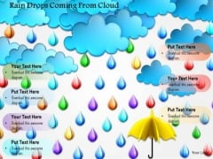 Stock Photo Rain Drops Coming From Cloud PowerPoint Slide