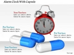 Stock Photo Red Alarm Clock With Medical Pills PowerPoint Slide