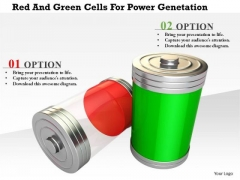 Stock Photo Red And Green Cells For Power Genetation PowerPoint Slide
