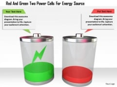 Stock Photo Red And Green Two Power Cells For Energy Source PowerPoint Slide
