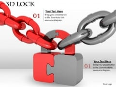 Stock Photo Red And Grey Chains With Puzzle Lock PowerPoint Slide