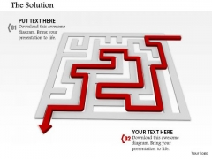 Stock Photo Red Arrow Indicating Solution Path Of Maze Pwerpoint Slide