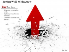 Stock Photo Red Arrow Moving Upward From Cracked Surface PowerPoint Slide