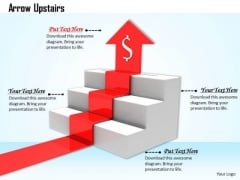 Stock Photo Red Arrow Moving Upwards In Stairs PowerPoint Slide