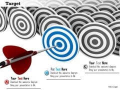 Stock Photo Red Arrow On Blue Target PowerPoint Slide