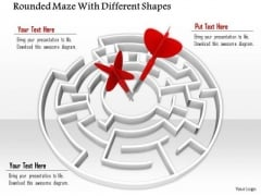 Stock Photo Red Arrows In Center Of Maze PowerPoint Slide